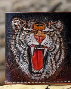Handmade short leather wallet men tiger carved leather short wallet for men him