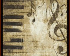 4 Napkins Vintage Style Piano And Musical Notes Decoupage Napkins - Use For Crafts, Collage And Altered Art Projects