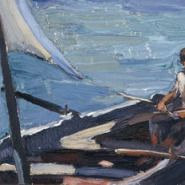 Boat with Sail (Panormos, Tinos) - Nikolaos Lytras Greek Paintings, Oil Paintings, National Gallery, Boat Painting, Post Impressionism, Greek Art, Guy Drawing, Drawing Tips, Conceptual Art