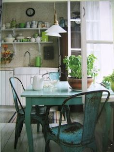 turquoise table & chairs