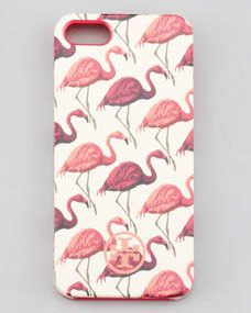 Flamingo-Print Soft iPhone 5 Case, Pink Multi