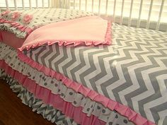 Pink and Grey Chevron Toddler Bedding Ready to Ship 4 Piece, Includes Fitted Crib Sheet,  Pillow case/sham, Blanket and Ruffled Skirt