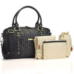Elizabeth Quilted Leather Shoulder Sak in Black from PoshTots $450.00 - clearly no bay bay is on the way... but this would be an awesome purse to have for all the pockets and stuff - plus I'll give my sister the changing pad! ha!