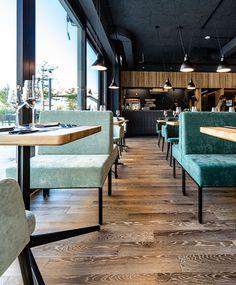 Gastronomieeinrichtung aus Österreich in Schaan - Lichtenstein, Bar&Restaurant, Diner, Polsterbänke, gemütlich, zum wohlfühlen, Sichtküche, 3d Fliesen - grau, Retsaurant Einrichtung - id Werkstatt
