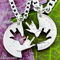 Best Friend Necklaces, Sign Language Jewelry, ASL I love you, Deaf, I love You Hands Interlocking Puzzle Necklaces | NameCoins - Jewelry on ArtFire