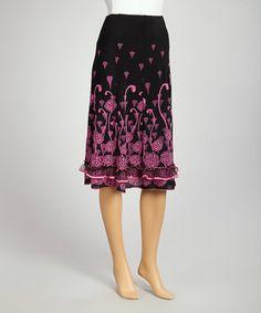Love this Zashi Pink & Black Abstract Ruffle Skirt by Zashi on #zulily! #zulilyfinds