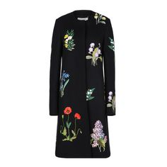 Luxuriöser Couture-Mantel mit Pflanzen-Stickerei.