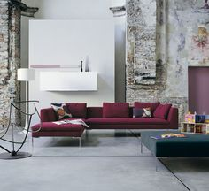 Charles sofa and Charles sectionals, Antonio Citterio, B&B Italia. The Charles sofa is part of an extensive family of rectilinear seating that includes. Retro Living Rooms, Living Room Lounge, Living Room Modern, Living Room Interior, Ottoman Furniture, Find Furniture, Home Furniture, Furniture Design, Furniture Logo