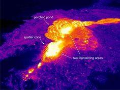 Thermal image of two lava fountains