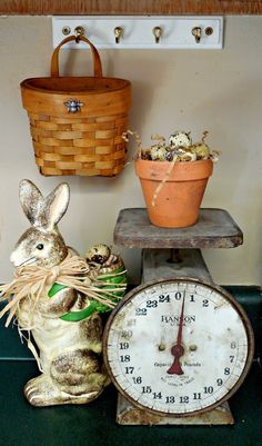 Walnut & Vine - spring décor with bunny and vintage scales