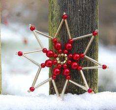 Easy To Make Christmas Ornaments, Fabric Christmas Ornaments, Snowflake Ornaments, Beaded Ornaments, Christmas Snowflakes, Beaded Snowflake, Handmade Christmas, Christmas Crafts, Beaded Crafts