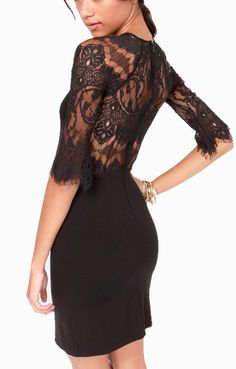 Black Figure-hugging Half Sleeves Lace Splicing Chiffon Dress