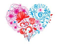 Diseño para la camiseta corazón floral