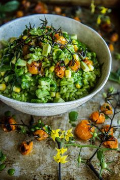 "beautifulfoodisamust:  "" Vegan Roasted Tomato and Corn Risotto with Basil Arugula Pesto  ۞ Plant-Based Recipe Blog ۞  """