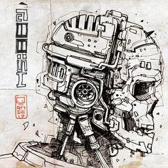 Linux, Computing, Cyberpunk and Happy Arte Cyberpunk, La Santa Muerte Tattoo, Drawing Sketches, Art Drawings, Robot Sketch, Character Art, Character Design, Character Concept, Arte Dope