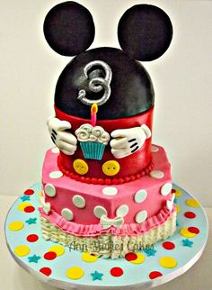 Mickey Mouse Clubhouse Cake - Buttercream Finish with Fondant decorations, the Mickey ears beanie is RKT covered in Fondant. Marble cake and Dominican Vanillia SMBC