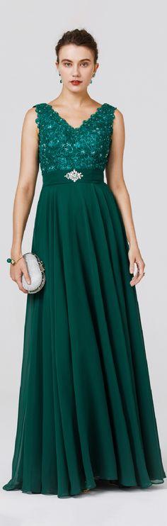 A-Line Princess V-neck Floor Length Chiffon Formal Evening Dress with Beading Appliques Sash / Ribbon