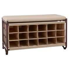 Neu Home 18-Slot Shoe Storage Bench, Light Brown