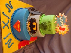 3 Tier Superhero Birthday Cake