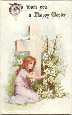 1908 Frances Brundage Easter Girl with Cross Postcard