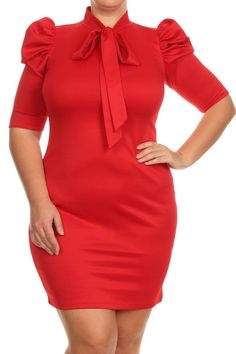 Plus Size Bow Neckline Short Sleeve Dress Curvy Fashion, Plus Size Fashion, Peplum Dress, Bodycon Dress, Neckline Designs, Plus Size Party Dresses, Stylish Plus, Plus Size Women, Fashion Tips
