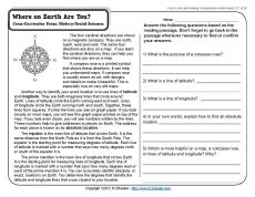 Printables Reading Comprehension 4th Grade Worksheets reading worksheets for 4th grade comprehension free printable this passage and questions about absolute location on earth support