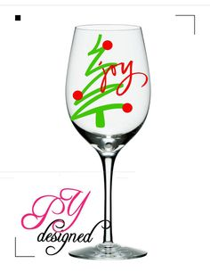 Christmas Wine Glass with Christmas Tree and Joy by PYdesigned, $10.00