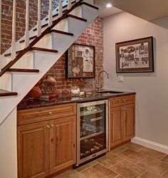 Energy Star Certified Hoboken Brownstone  basement wet bar.