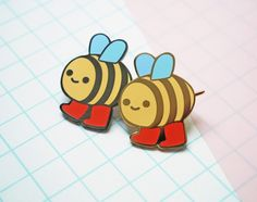 Happy Bee Enamel Pin by CarolineFrumentoArt on Etsy