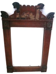 Walnut mirror hand carved folk art early 1900s by SelectiveSalvage
