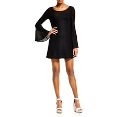 Nanette Lepore San Fran Netted Lace Dress ($345) ❤ liked on Polyvore featuring dresses, black, black fitted dress, black bell sleeve dress, flare cocktail dress, black flare dress and fitted cocktail dresses