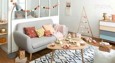 Scandinavian Grey Sofa Iceberg on Maisons du Monde. Take your pick from our furniture and accessories and be inspired! Living Room And Dining Room Design, Living Room Lighting, Interior Design Living Room, Room Interior, Vintage Sofa, Vintage Coffee, Garden Coffee Table, Coffee Table Design, Coffee Tables