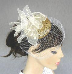 Weddings mini hat fascinator bridal head piece by MammaMiaBridal, $80.00