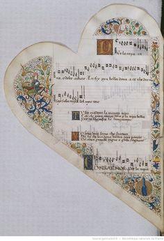 Titre :  Chansonnier cordiforme de Montchenu. RECUEIL de Chansons italiennes et françaises.  Date d'édition :  1470-1480  Rothschild 2973  Folio 11v