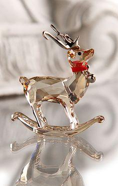 Swarovski crystal rocking reindeer - a great gift or to keep for yourself Swarovski Crystal Figurines, Swarovski Crystals, Noel Christmas, White Christmas, Glass Figurines, Crystal Collection, Reindeer, Glass Art, Bling