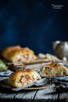 Strudel de pera, almendras y nueces. Receta muy fácil con Mesura, sin azúcar refinado.