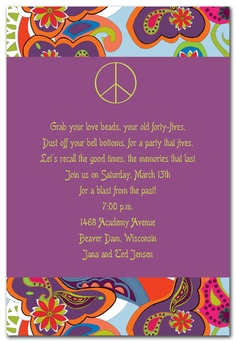 60 birthday party invitations item number 0fh 58 60s van party groovy peace sign stopboris Images