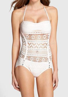 This white lace halter swimsuit has halter straps and light padding for a fit-to-flatter look. | Lookbook Store What's New