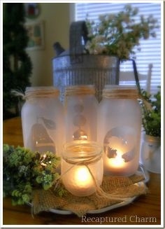 Frosting jars with Valspar spray frosting-trace designs to cut out and tape onto glass before spraying