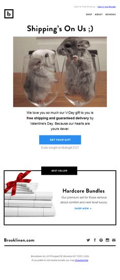 These live hamsters in a email from @brooklinen so cute