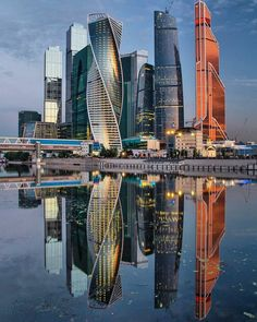 """зеркальная """"Москва-Сити"""" Reflection Photography, City Photography, City Landscape, Landscape Photos, City Aesthetic, Beautiful Places In The World, Amazing Architecture, View Photos, Cool Pictures"""