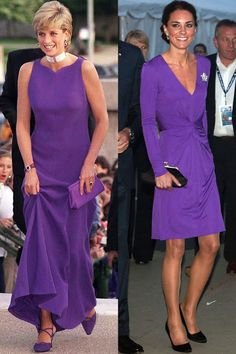 Love the color of these dresses!  Both are winners.  But please, William, fix some pasta dishes for Catherine.   The girl is wasting away!  Diana in Versace at a dinner at the Field Museum of Natural History in Chicago in June 1996; Kate celebrates Canada Day in an Issa dress during the Royal Tour of North America in July 2011.