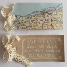 Do it yourself travel themed save the dates. Blog shows you how to make them