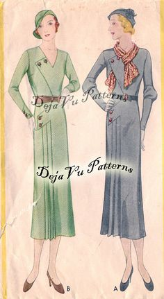 McCall 7038 Vintage 1930s Unique Asymmetrical Pleated Dress Sewing Pattern. $60.00, via Etsy.