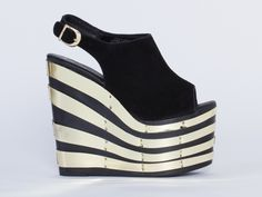 Jeffrey Campbell Snick 2PTO in Black Suede Gold at Solestruck.com