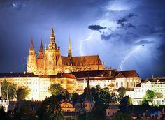 Prague castle and Charles bridge at night