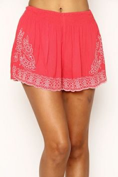 EMBROIDERED CRINKLE MINI SHORTS