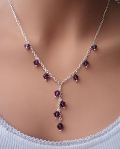 Swarovski Crystals bridal silver necklace. Great Gift for Bridesmaids. Bridal. Wedding. PICK YOUR COLOR.