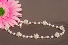 """Item 13501:  Flower Girl - 14"""" pink and white glass cluster pearl necklace.  Lobster clasp w/extender $28.00"""