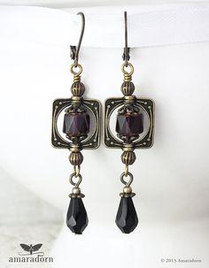 NeoVictorian Earrings Black and Purple Steampunk by Amaradorn